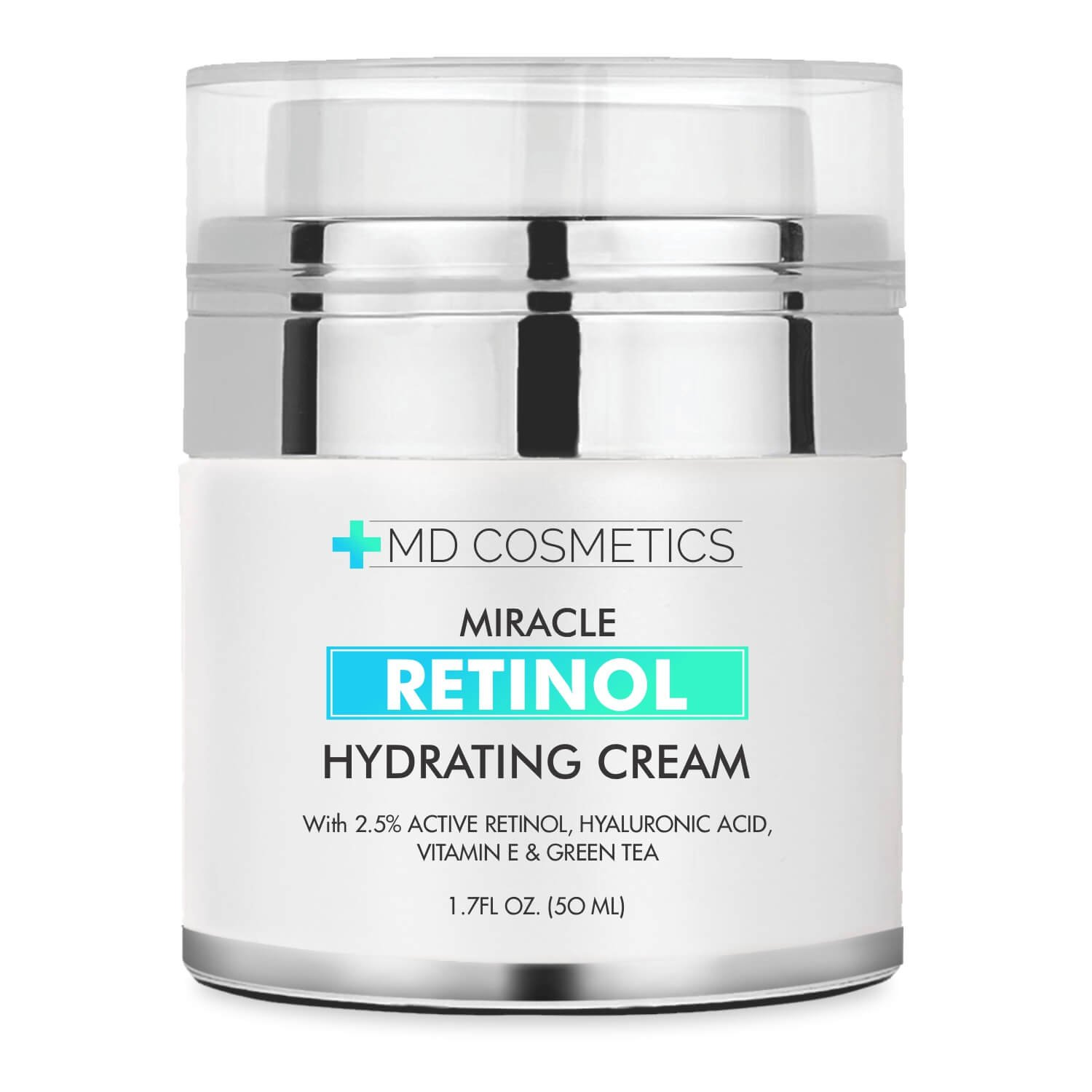 MD Cosmetics Retinol Moisturizer Cream for Face and Eye Area - With Retinol, Hyaluronic Acid, VITAMIN E & Green Tea. Night and Day Moisturizing Cream