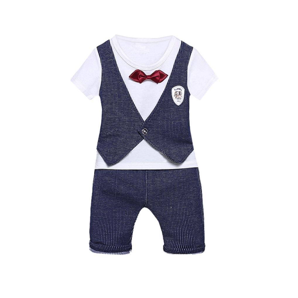 Jchen TM 2Pcs Infant Baby Kids Boys Letter Print Bow Tops+Pants Gentlement Outfits Summer Clothes Set for 0-3 T