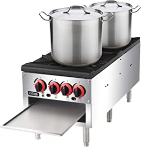 18 Inches 2 Stock Pot Stove - KITMA Liquid Propane Stock Pot Range with 4 Manual Controls for Restaurant(Short Body) - 160,000 BTU