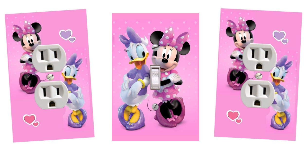 New Bowtoons Minnie and Daisy Bow-toons Love Pink Purple Lightswitch and Outlet Covers-Set of 3