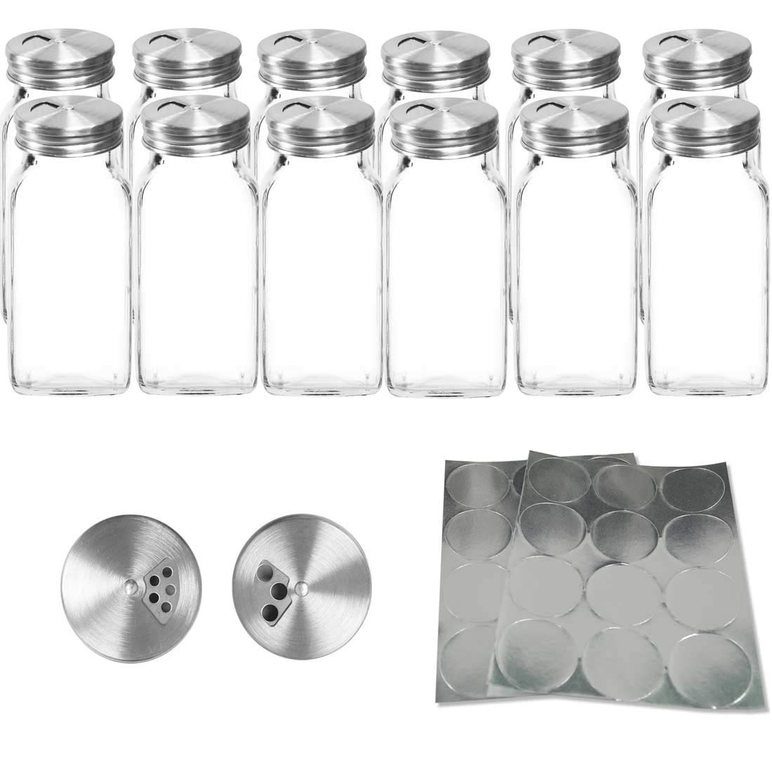12 Square Glass Spice Containers 6 oz Jars with Stainless Steel Dispenser Lids by SpiceLuxe