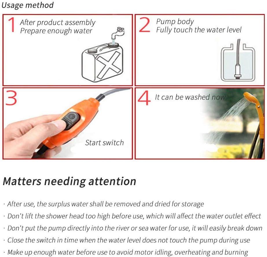 Elikliv Portable Camping Shower 12V Electric Outdoor Shower Bag Kit For Travel Car Washing Camping Water Bag Kit Hiking Flowering Plants Watering