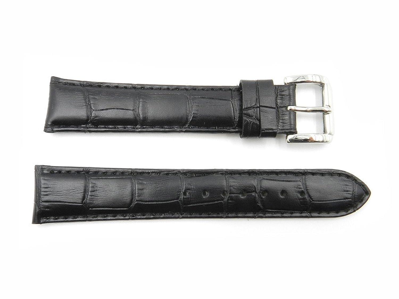 18 mm Black Genuine Leather Square Crocodile Grain時計バンド  B073C43XL6