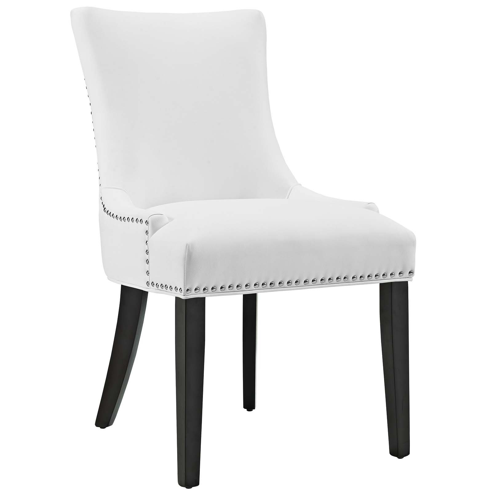 Modway Marquis Modern Elegant Upholstered Vinyl Parsons Dining Side Chair With Nailhead Trim And Wood Legs In White