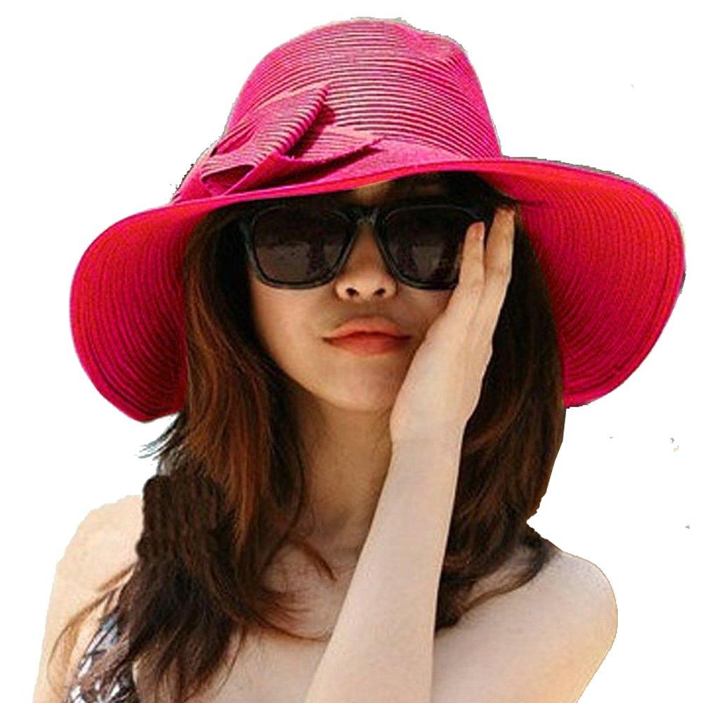 Nsstar Lady Bowknot Beach Sun Visor Foldable Wide Brim Straw Hat Cap Hot Pink