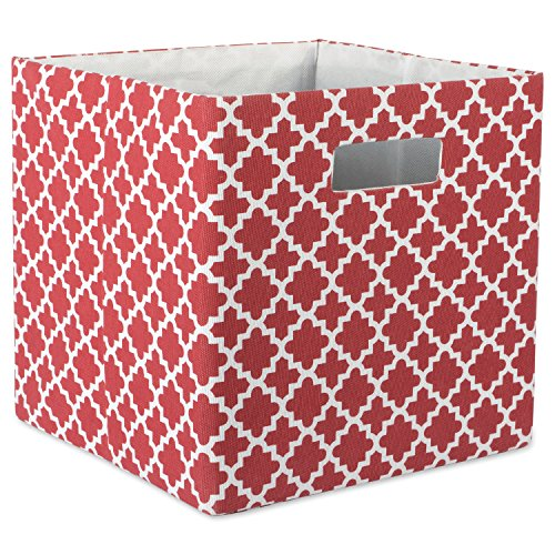 "DII Hard Sided Collapsible Fabric Storage Container for Nursery, Offices, & Home Organization, (13x13x13"") - Lattice Rust"