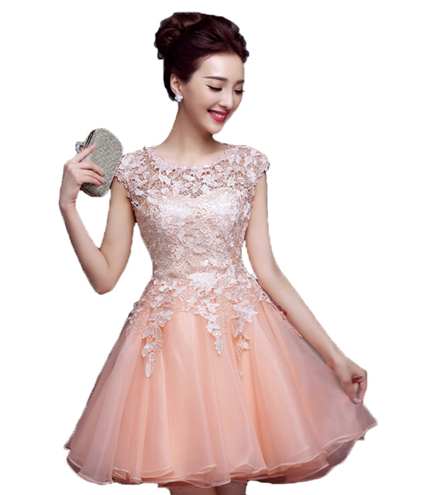 SunnyGirl Women's Short Lace Appliques Cap Sleeces Tulle Homecoming Dress Prom Dress Blush Pink 4