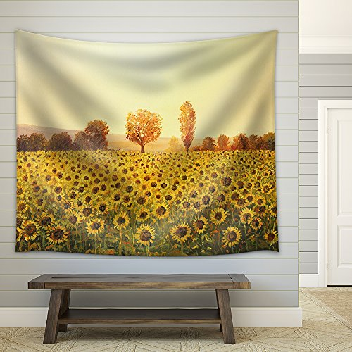 Sunflowers Field at Sunset Painted on The by Me Kiril Stanchev Fabric Wall