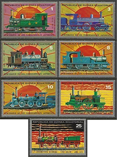 Equatorial Guinea - 1972 MNH 7v. Complete Set The 100th Anniversary of Japanese Railways Trains Locomotives ()