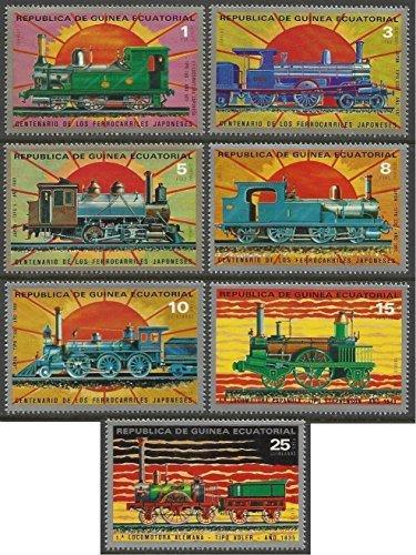 Equatorial Guinea - 1972 MNH 7v. Complete Set The 100th Anniversary of Japanese Railways Trains Locomotives (Mnh Trains)