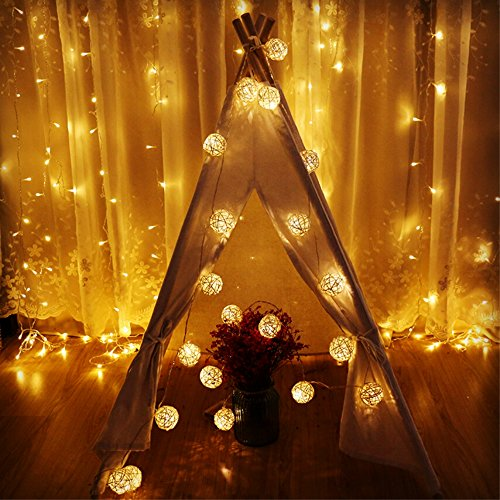 Globe Rattan Ball String Lights, Goodia 13.8feet 40 LED Warm White Fairy Light for Indoor,Bedroom,Curtain,Patio,Lawn,Landscape,Fairy Garden,Home,Wedding,Holiday,Christmas Tree,Party by Goodia (Image #7)