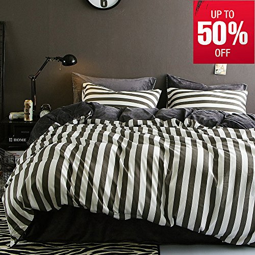 VM VOUGEMARKET Flannel Duvet Cover Set Striped Pattern,100%