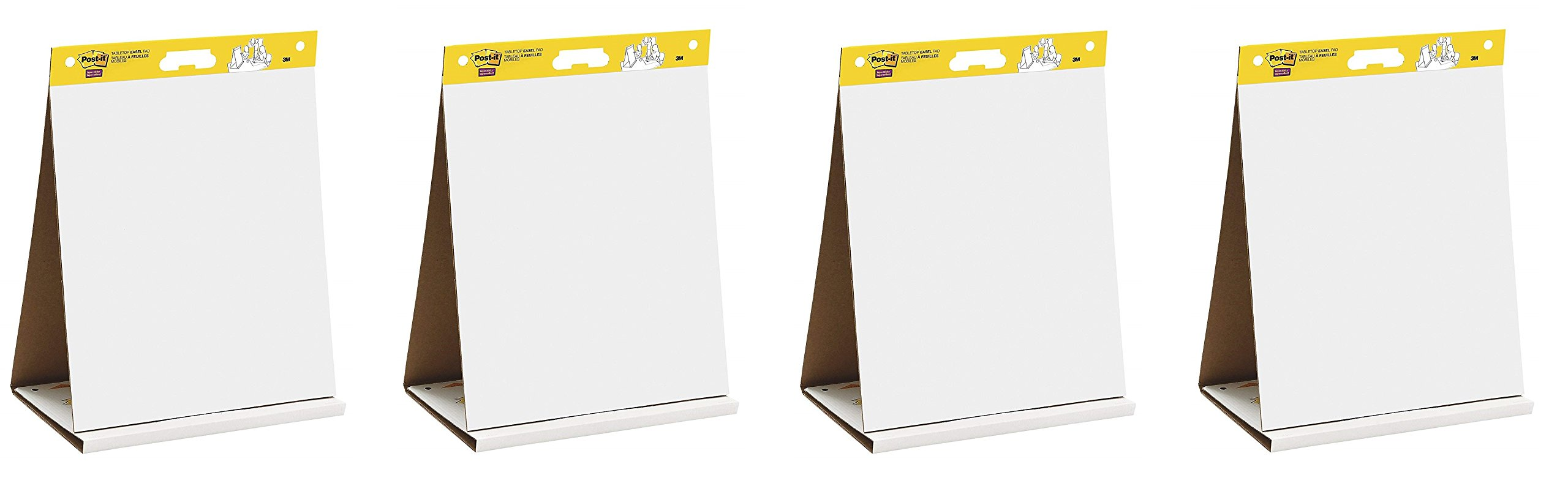 Post-it Super Sticky Tabletop Easel Pad, 20 x 23 inches, 20 Sheets/Pad, 1 Pad (563 DE), Portable White Premium Self Stick Flip Chart Paper, Dry Erase Panel, Built-in Easel Stand (Pack of 4)