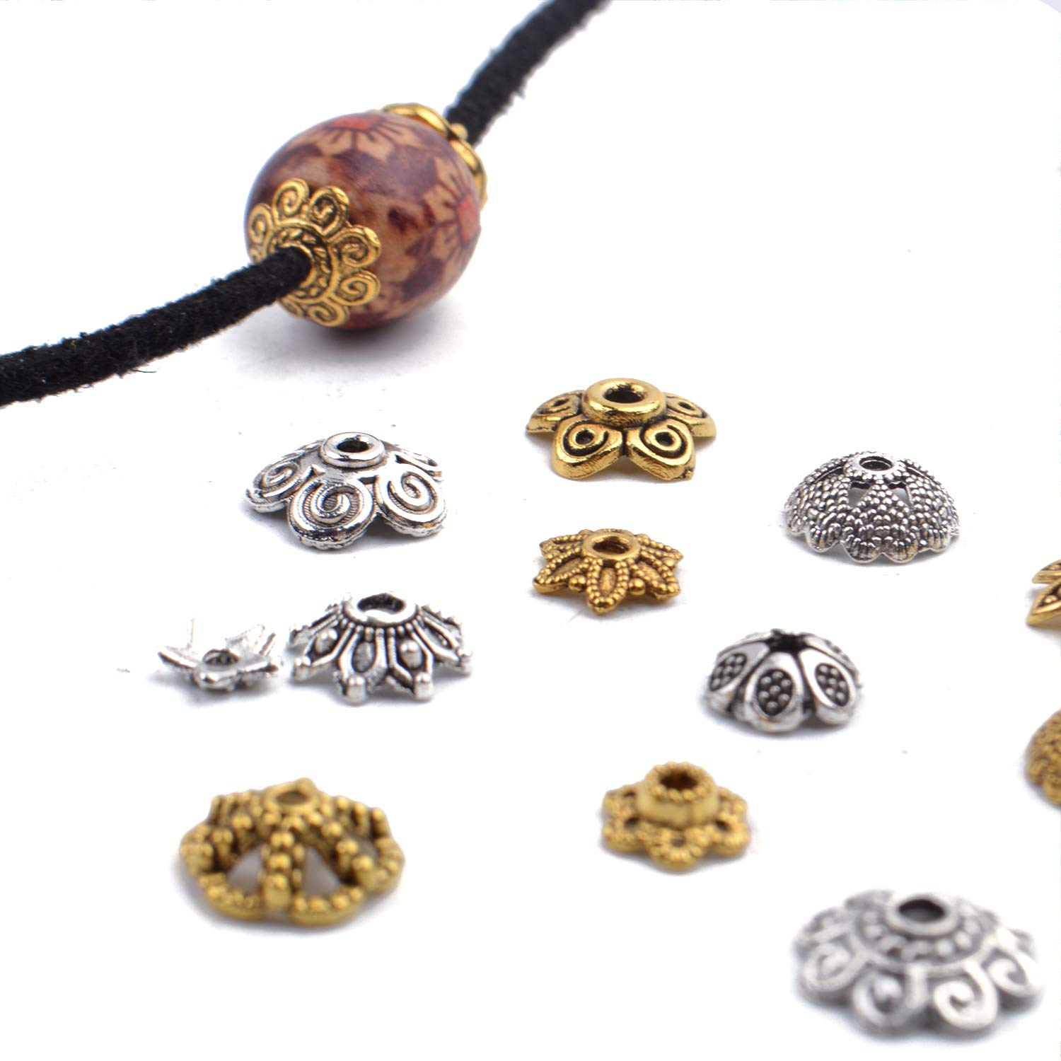 Mixed Metal Flower Bead Caps Spacer Beads Bali Style Jewelry Findings for DIY Crafting Jewelry Making 100g Antique Gold and Antique Silver 200-350pcs