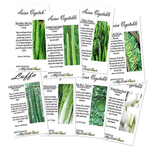 8 x Asian Vegetable SEEDS Combo - Bitter Melon, Calabash, Kai Lan, Choy Sum, Luffa, Michihili, Tat Soi, Winter