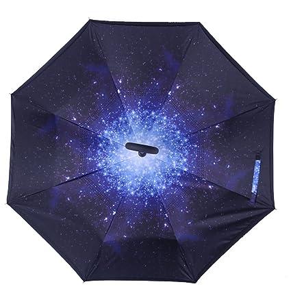 Paraguas Plegable de Doble Capa con Mango en C invertido al ...