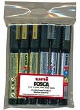Uniball 5014044 - Rotuladores (6 unidades), dorado y plateado