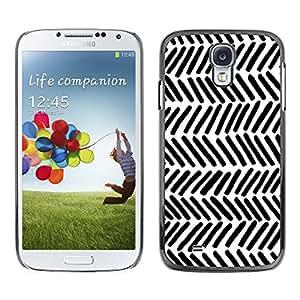 QCASE / Samsung Galaxy S4 I9500 / patrón nativo rayas blancas wallpaper arte negro / Delgado Negro Plástico caso cubierta Shell Armor Funda Case Cover