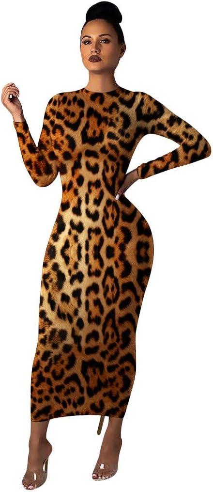 YONIN Damska Kleiden Rock, Langärmliges Gedrucktes Dünnes Kleid des Reizvollen Art Und Weiseleoparden des Runden Ansatzes Der Frauen Fischschwanzrockgroßes Formales Abendkleid-Brautjunferkleid: Odzież