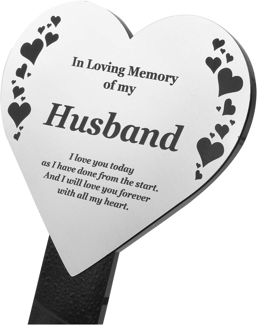 Husband Memorial Remembrance Plaque Stake, Hearts Design - Gold/Silver/Copper, Waterproof, Outdoor, Grave Marker, Tribute, Plant Marker (Silver)