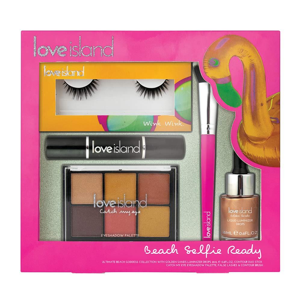 Love Island Beach Set - Liquid Luminizer, Eyeshadow, Contour Stick, Brush, Lashes & Glue - Pink Corsair Toiletries Ltd LOV4437