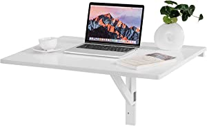 """Tangkula 31.5"""" x 23.5"""" Wall-Mounted Table, Drop-Leaf Wall Mounted Table, Floating Table Space Saving Hanging Table for Study, Bedroom, Bathroom or Balcony, Folding Table (White)"""