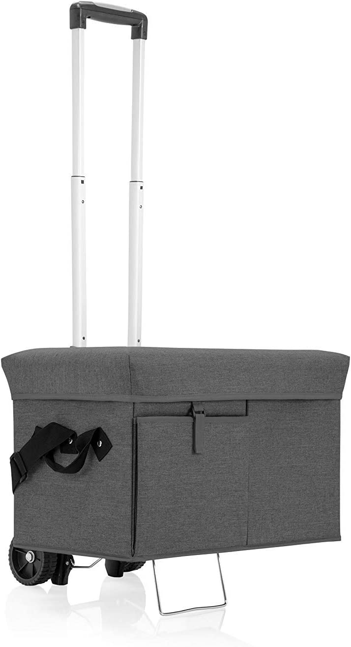 ONIVA - a Picnic Time Brand Ottoman Insulated Collapsible Cooler/Picnic Tote with Wheeled Trolley, Gray