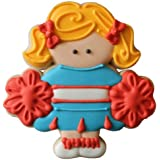 CookieCutterCom Pink Cheerleader Plastic Cookie Cutter 3.5 in