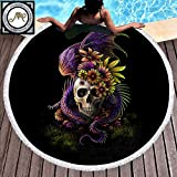 Sleepwish Flowery Skull By Sunima Skull Floral Beach Towels Boy Round Beach Towel Black Tribal Skull Round Blanket (Dragon Swirls, 60'')