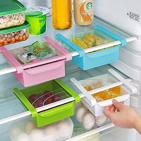 Generic verde: Slide rastrillo de almacenamiento frigorífico congelador cajas Pantry bandejas de almacenamiento organizador recipiente de almacenamiento de ...