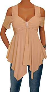 product image for Funfash Women Plus Size Caramel Tan Off Shoulders Blouse Top Shirt Made in USA