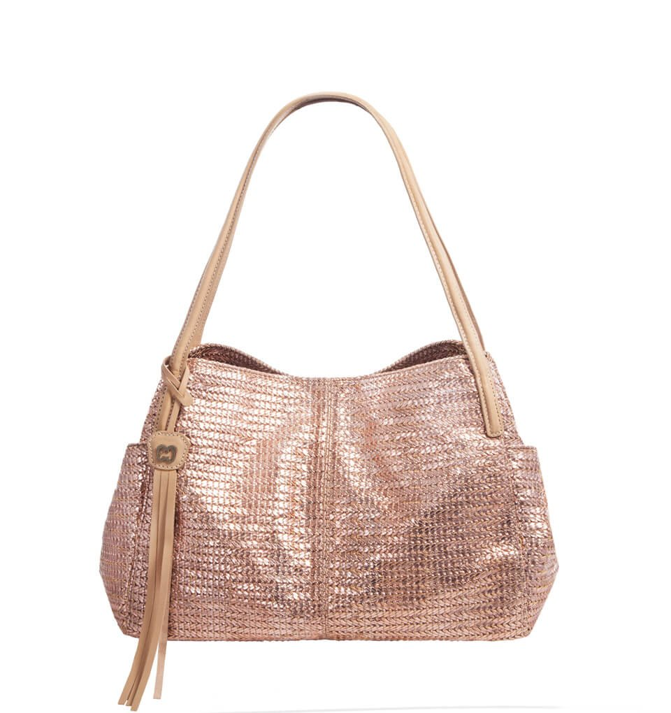 Eric Javits Luxury Fashion Designer Women's Handbag - Aura (Rose Gold) by Eric Javits