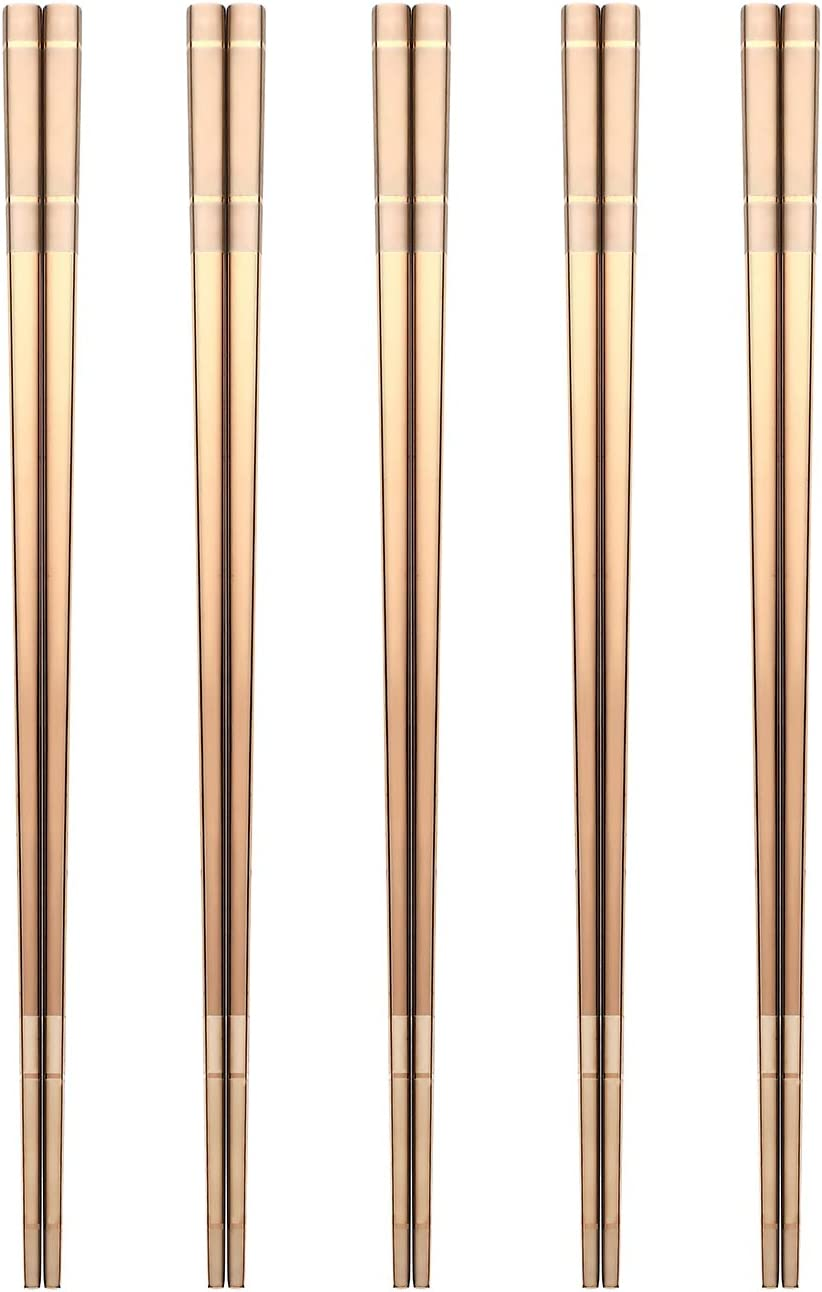 Devico Chopsticks Reusable, Premium 18/8 Stainless Steel Chopstick Metal Chop Sticks with Titanium Plating Dishwasher Safe (Rose gold)