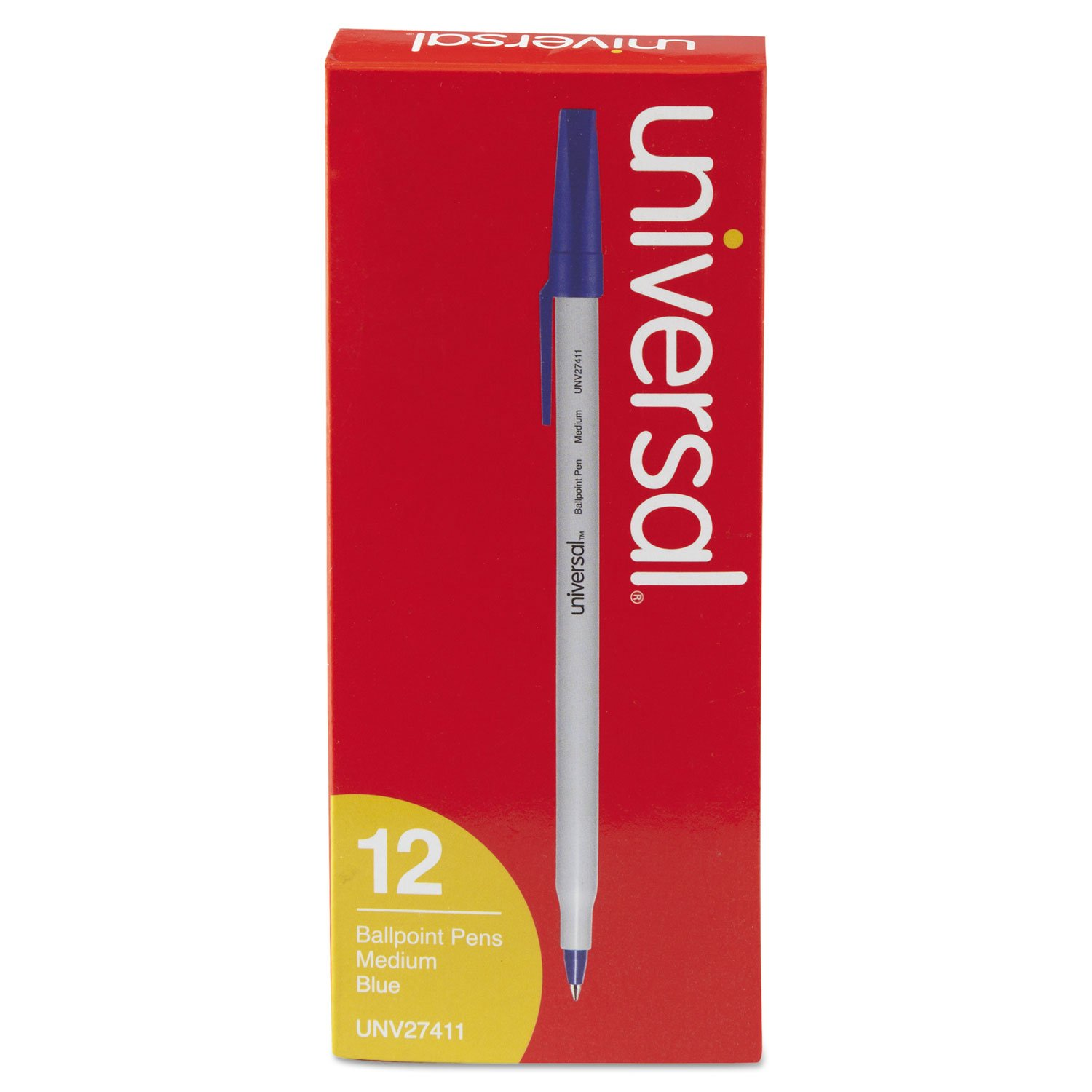 Universal 27411 Medium Point Blue Ink Ballpoint Pen (12 per Pack) (Discontinued by Manufacturer)