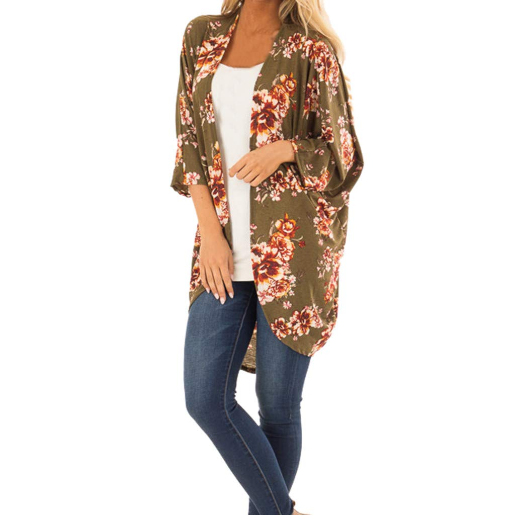 NUWFOR Fashion Womens Olive Green Printing Cardigan Easy Smock Blouse Tops(Green,L US Bust:55.1'')