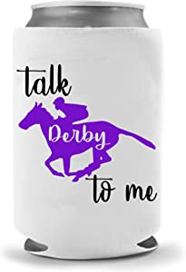 Talk Derby To Me Coolie | Beer Funny Can Cooler - Kentucky Derby Beer Gifts | Funny Novelty Coolie Huggie | Beverage Holder - Beer Gifts - Quality Neoprene Beer Can Cooler (Purple)