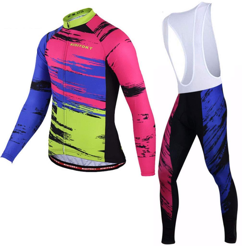 Lilongjiao Frühling, Sommer und Herbst Modelle Männer und Frauen Reiten Jersey langärmeligen Strap Set Mountainbike Reitanzug Radfahren Sportbekleidung