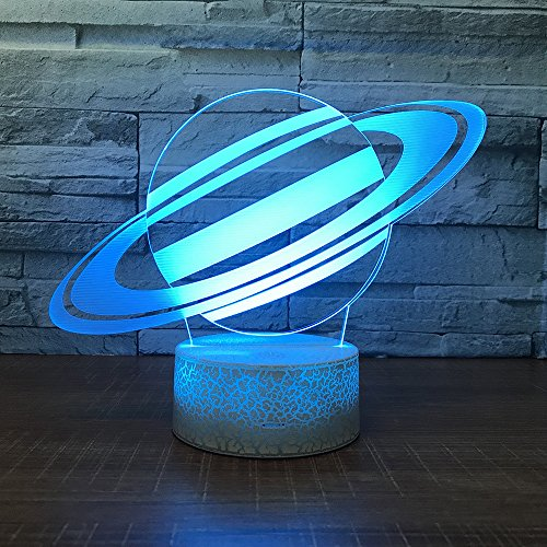 Saturn Planet Toy 3D Visual Desk Lamp Space Night Light Household Home bedroom Decor 7 Colors Change Touch Table Light Birthday Gift Christmas for Kids and Adult