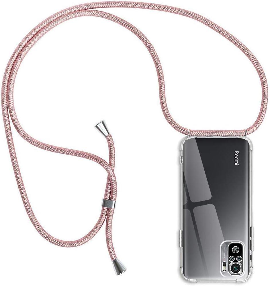 Funda con Cuerda Compatible con Xiaomi Redmi Note 10 Pro/Redmi Note 10 Pro MAX, Transparente Silicona Carcasa con Colgante,Rosyheart Suave TPU Gel Slim Case con Ajustable Correa Collar - Oro Rosa