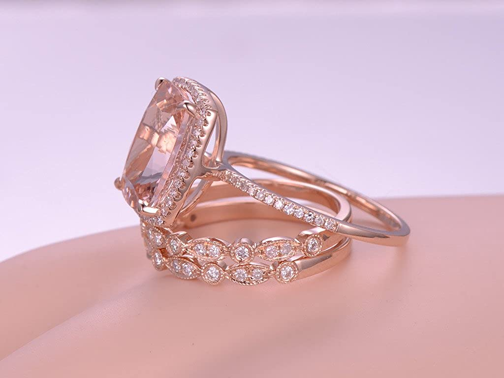 Amazon.com: MYRAYGEM-wedding ring sets 3pcs Morganite Engagement ...