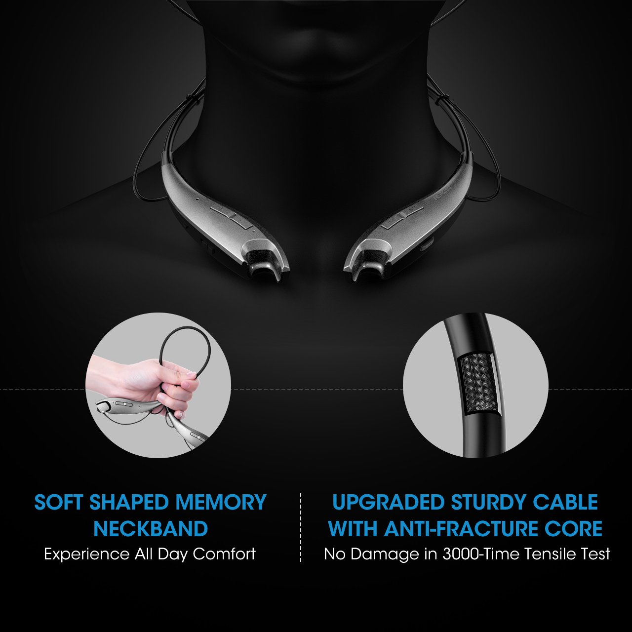 Blue Mpow Jaws Gen-3 Bluetooth Headphones Wireless Neckband Headphones w//13 Hours Playtime /& CVC 6.0 Noise Cancelling Mic,Wireless Neckband Headset w//Call Vibrate Alert,Bluetooth Magnetic Earphones
