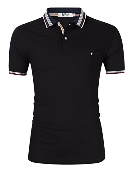 a1a4061d Amazon.com: MrWonder Polo Shirts for Men Casual Slim Fit Short Sleeve Golf  Stripe Collar 2 Button Athletic T Shirt: Clothing