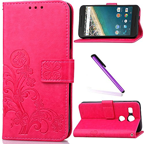 LG Nexus 5X Case,Google Nexus 5X Case,LEECOCO Embossed Lucky Clover Floral Design with Card Slots Magnetic Flip Stand Shockproof PU Leather Wallet Case for LG Nexus 5X Clover Rose