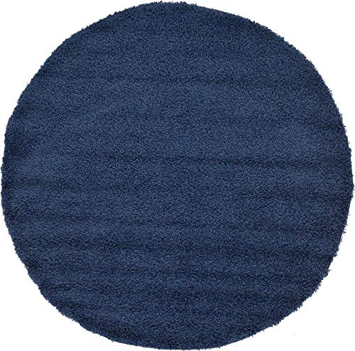 Unique Loom Solo Solid Shag Collection Modern Plush Navy Blue Round Rug (6' 0 x 6' 0)