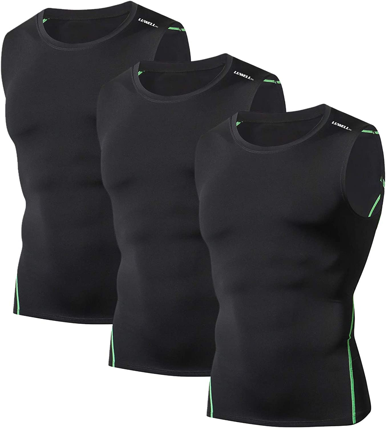 LUWELL PRO Mens 3 Pack Tank Tops Compression Sleeveless Shirts Baselayers Muscle Shirts for Running,Workout,Gym,Training