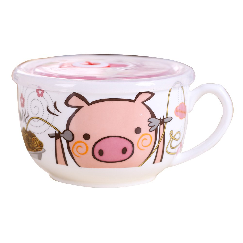 Microwave Bone China Pasta Bowls with Handle and Seal Lids Porcelain Noodle Mug Decal Pattern Pig