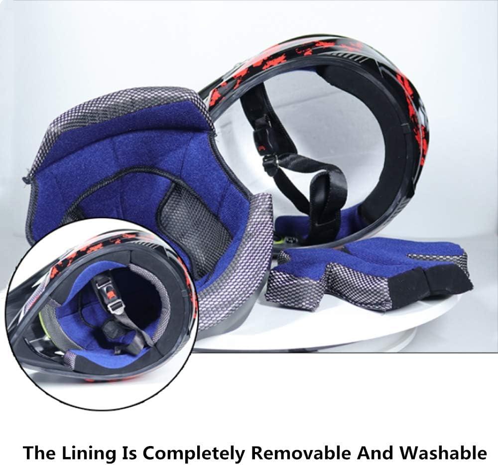 Motocross Helm Set mit Brille Handschuhe Maske Motorrad Netz Unisex Adult Off Road Helm Kit Crosshelme Motorradhelm Schutzhelm ATV Helm f/ür M/änner Damen Sicherheit Schutz Schwarz und Rot