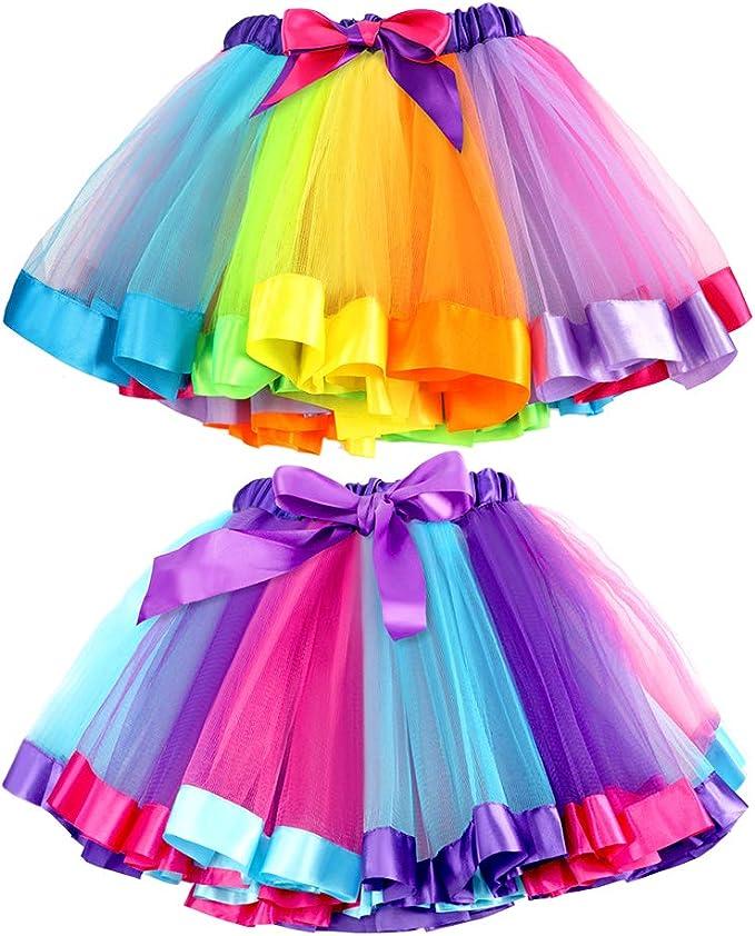 Tacobear 2piezas Falda Tutu para Niñas Dancewear Arco Iris Falda ...