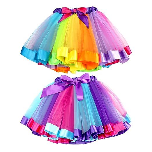 Bascolor 2Stk.Mädchen Regenbogen Tüllrock Tutu Ballettrock Tanzkleid Ruffle Ballettkleid Unterrock Rock Clubwear
