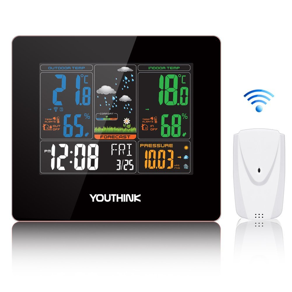 [Sale]Wireless Weather Station Clock,330ft Wireless Range Color Forecast Station with Hygrometer for Indoor Outdoor Humidity Temperature,Barometric Pressure,Alarm Clock,Home Monitor Thermometer